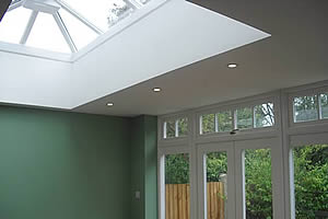 Lead roof extension with roof lantern
